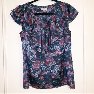 LOFT Short Sleeve Floral Blouse, Navy Medium